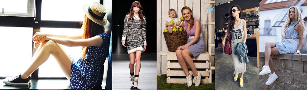Как правильно носить платье с кедами